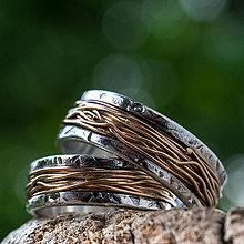 Prstene - Prepletené cesty osudu /kombi + patina/  (Ružová) - 9723613_