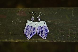 """Náušnice - Folklórne náušničky """"little violet"""" - 9724404_"""
