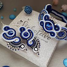 Sady šperkov - Modrý štebotavý šujtášový set - 9725929_