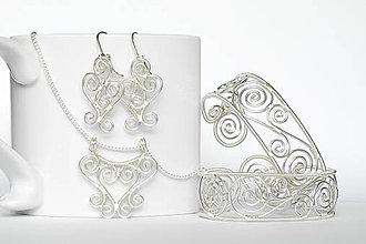 Sady šperkov - postriebrený špirálkový set - 9725779_