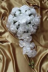 Kytice pre nevestu - Svadobná výzdoba na auto biela - 9725855_