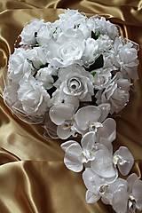 Kytice pre nevestu - Svadobná výzdoba na auto biela - 9725857_