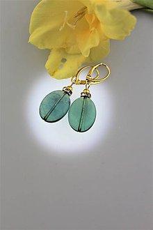 Náušnice - Smaragdový fluorit náušnice v striebre - 9725649_