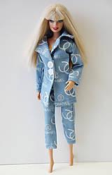 Hračky - Bledomodré nohavice 3/4 pre Barbie - 9725887_