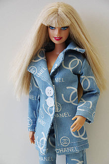 Hračky - Bledomodrý kabátik pre Barbie - 9725884  8a6f06fabb2