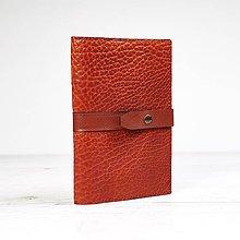Papiernictvo - Ryšavý kožený obal na zápisník A5. - 9724291_