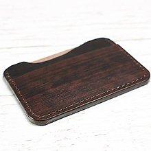 Peňaženky - Hnedá kožená mini peňaženka - 9724887_