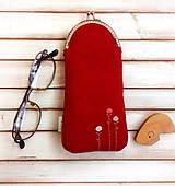 - Púzdro na okuliare Červená s kvietkami - 9723632_