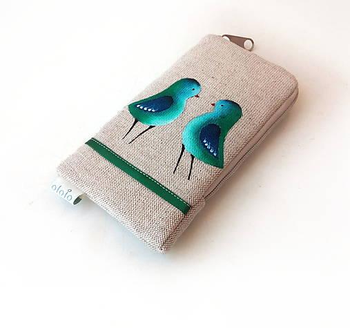 Obal na mobil Zeleno-modré vtáčiky