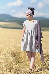 Šaty - Světle šedé šaty lněné - 9725208_