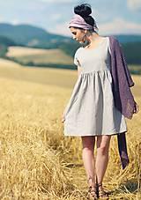 Šaty - Světle šedé šaty lněné - 9725214_