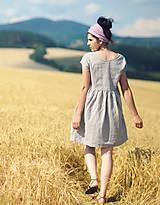 Šaty - Světle šedé šaty lněné - 9725217_
