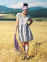 Šaty - Světle šedé šaty lněné - 9725218_
