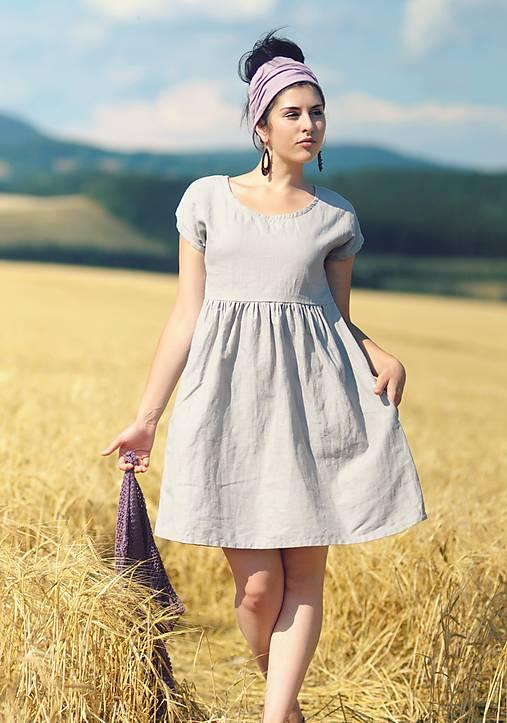 Šaty - Světle šedé šaty lněné - 9725211_