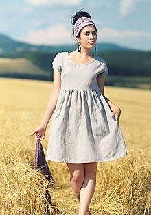 Šaty - Šedé šaty lněné - 9725211_
