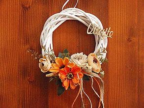 Dekorácie - Jesenný venček s nápisom Vitajte - 9724018_