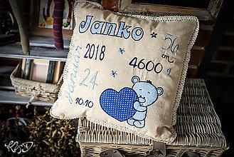 """Úžitkový textil - Vankúšik pre novorodenca """"Janko"""" - 9727849_"""