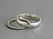 Svadobné obrúčky 14k zlatá sada prsteňov Nekonečno