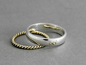 Prstene - Svadobné obrúčky 14k zlatá sada prsteňov Nekonečno - 9726654_