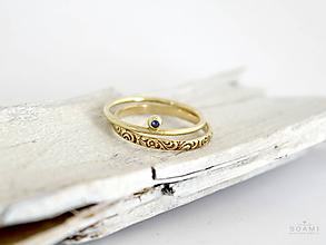 Prstene - 585 / 14k zlatý komplet prsteňov s prírodným modrým zafírom - 9726912_