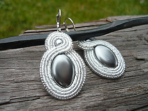 Náušnice - Soutache náušnice Silver Pearl - 9727631_