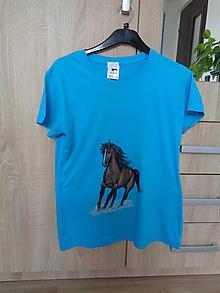 Tričká - Koník hnedý - dievčenské tričko - 9726960_