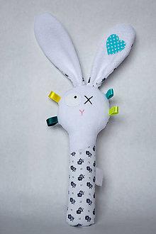 Hračky - Látková hrkálka (Modrá) - 9728082_