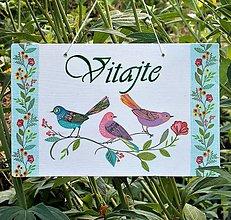 Tabuľky - Tabuľka nad dvere Tri vtáčiky - 9727536_
