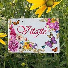 Tabuľky - Uvítacia tabuľka Ruže a motýliky - 9728225_
