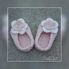 Topánočky - Staroružové balerínky (capačky) s kvietkom SKLADOM - 9727416_