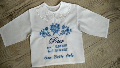 Textil - Vyšívaná košieľka na krst - 9727419_