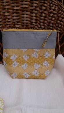 Taštičky - Kozmetická taška veľká Gold Leaf I. - 9726753_