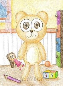 Kresby - Macko v detskej izbe a jeho bábika - 9726040_