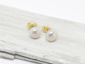 Náušnice - 14k zlaté napichovacie náušnice s perlami Satu - 9730718_