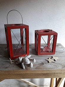 Svietidlá a sviečky - Lampáš červený Nordic style - 9731222_
