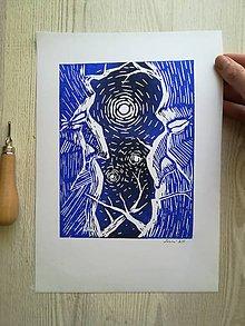 Grafika - Tichý rozhovor - linoryt - 9729593_
