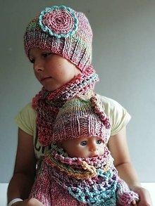 Detské čiapky - SET- ČIAPKA A ŠATKA - dievčenská farebná - 9730508_