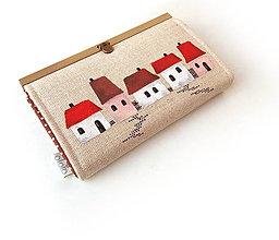 Peňaženky - Peňaženka s priehradkami Domčeky 19 cm - 9730796_