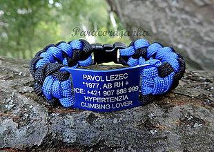 Náramky - BODY ID blue - identifikačný paracord náramok - 9733193_