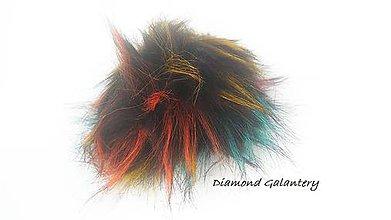 Galantéria - Kožušinový brmbolec s patentkou - melírový - 9734142_