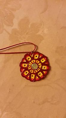 Náhrdelníky - Náhrdelník kruh červený - 9734008_