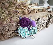 Odznaky/Brošne - Art brošňa 3 - ruže kvetinky fialová - 9732779_