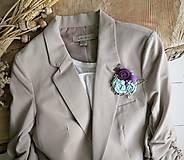 Odznaky/Brošne - Art brošňa 3 - ruže kvetinky fialová - 9732780_