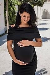 - Off shoulder tehotenské šaty - malé čierne - 9734205_
