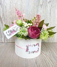 Dekorácie - Aranžmán v krabičke jemná ružová - 9732020_