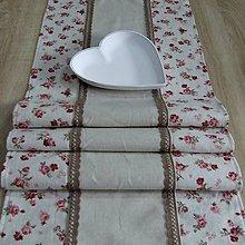 Úžitkový textil - Vintage ružičky na režnej(1) - stredový obrus - 9733640_