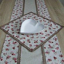 Úžitkový textil - Vintage ružičky na režnej - obrus štvorec 40x40 - 9733906_