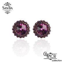 Náušnice - Náušnice: Puzetky Swarovski rôzne farby Ag925 (Ružovo-fialový) - 9733346_
