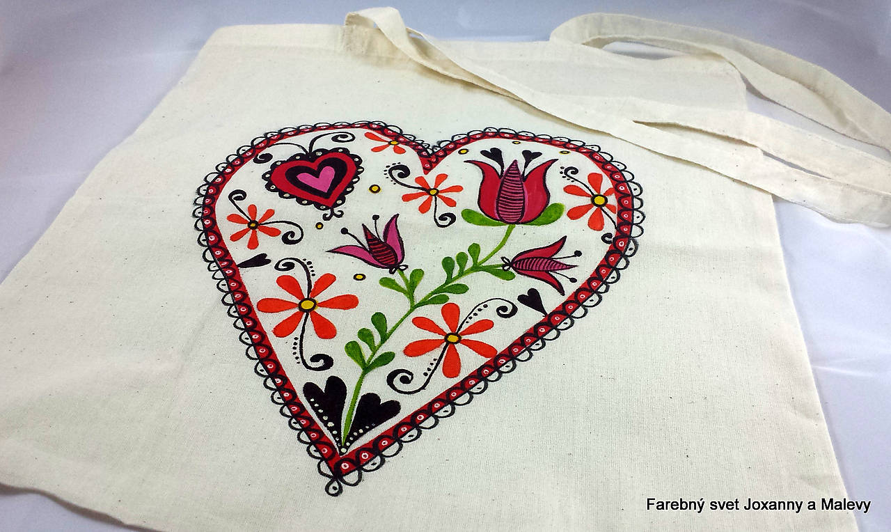 Bavlnená taška Srdce   joxanna13 - SAShE.sk - Handmade Nákupné tašky 93722d7869