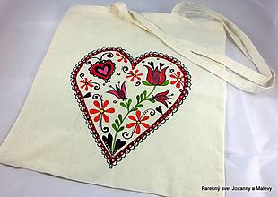 Nákupné tašky - bavlnená taška Srdce - 9733720_